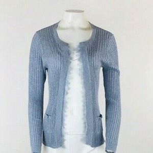 Anthropologie Ribbed Lace Trim Cardigan
